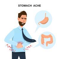 Mann, der seinen Bauch berührt. Er wird krank wegen Magenschmerzen Zeichentrickfigur