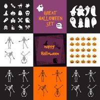 Halloween ikoner set vektor