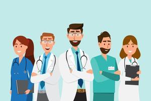 Uppsättning av läkare tecknad karaktärer. Koncept för medicinsk personal