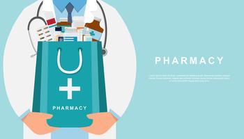 apotekbakgrund med läkare som håller en medicinpåse