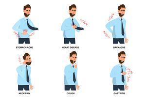 uppsättning av sjuk man magvärk, hjärtsjukdom, ryggvärk, nacksmärta, hosta och gastrit vektor