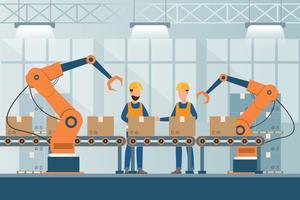 smart industriell fabrik i platt stil med arbetare, robotar och monteringslinjepackning