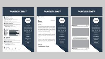 Persönliche Lebenslauf-Entwurfsvorlage für 3 Seiten vektor