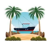 Küstenlandschaftskarikatur vektor