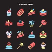 Sammlung Bäckerei- und Kuchenikonen. Süßigkeiten, süßes Set