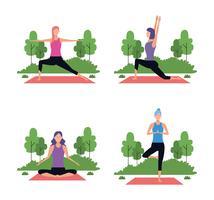 uppsättning kvinna i yogaställningar
