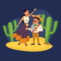 Mexikaner firar i öknen vektor