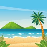 Vackert strandtecknadslandskap