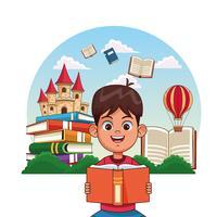 Barn som läser sagor vektor