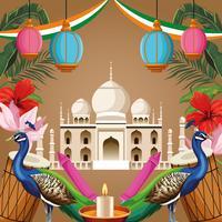Indien National Monument Tourismus Karte vektor