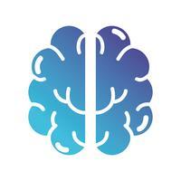 silhuett anatomi mänskliga hjärnan ikonen vektor
