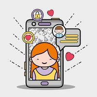 smartphone med tjej inuti och chattbubbla meddelande vektor