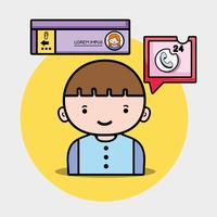 pojke med chattbubbla socialt meddelande vektor