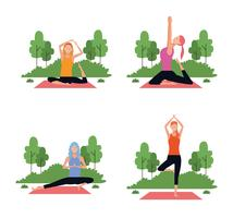 Satz von Frau in Yoga-Posen