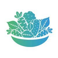 Linie Bio-Lebensmittel Gemüsenahrung vektor