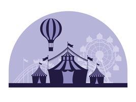 Blaue und weiße Farben der angemessenen Landschaft des Zirkusfestivals vektor