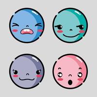 Set Emoji Gesichter Emotionen Charakter vektor