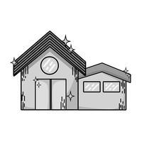 gråskaligt rent hus med tak- och dörrdesign vektor
