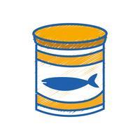 Dose Thunfischmehl mit gesunder Ernährung vektor