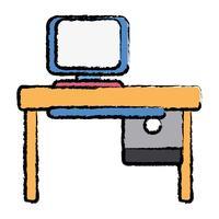 Büro mit Computertechnik und Holzschreibtisch vektor