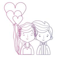 linje skönhet par gift med frisyr design