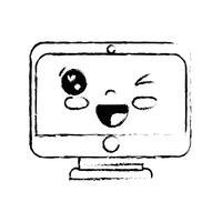 Figur kawaii süsser lustiger Bildschirm Monitor