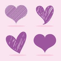 uppsättning hjärtan med olika former design vektor