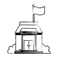 Figur Schulbildung mit Dach und Türen Design vektor