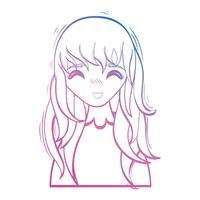 Linie Schönheit Anime Mädchen mit Frisur und Bluse vektor