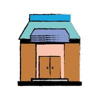 Schulbildung mit Dach und Türen Design vektor