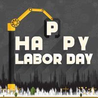 Happy Labor Day skyltar på svarta tavlan stil kugghjul och kuggar bakgrund med papperssnitt under konstruktion byggnad och kran vektor