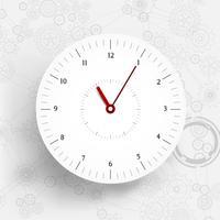 Sich hin- und herbewegende Papier-geschnittene Uhr auf Tafelartgängen und Zahnhintergrund vektor