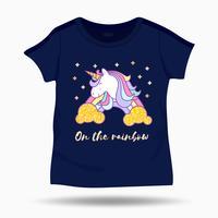 Söt enhörningillustration på t-shirtbarnmallen. Vektorillustration