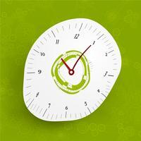 Zusammenfassung verzerrte Uhr auf grünem Gang- und Zahnhintergrund