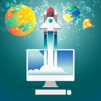 Flache steigende Rakete vom Computerdesktop zur Raumvektorillustration vektor