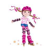En flicka i en rosa hjälm och rullskydd för tillbehör. Barn i sporten. Skridsko på rullskridskor. Tecknad vektorkaraktär.