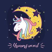 Söt unicorntecknad filmteckenillustration. Vektorillustration