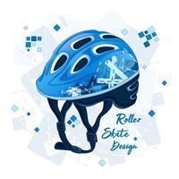 Blauer Helm mit geometrischem Muster für Superscooter. Sportmode für junge Leute, Frühlingsdesign. Vektor-illustration