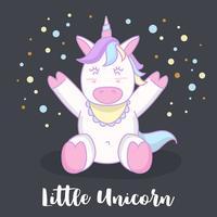 Liten baby unicorn tecknad filmteckenillustration. Vektorillustration