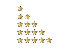 Fünf Sternebewertungen auf Weiß