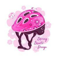 Rosa Helm mit Blumenmuster zum Rollschuhlaufen. Sportmode für junge Leute, Frühlingsdesign. Vektor-illustration