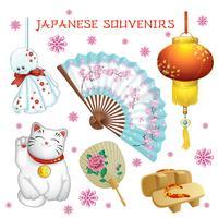 Uppsättning av japanska souvenirer