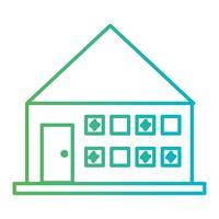 Linie Hausarchitektur mit Türen und Fenstern