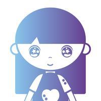 Silhouette Mädchen mit Bluse und Frisur Design