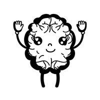 kontur kawaii söt glad hjärna med armar och ben vektor
