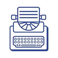 linje retro skrivmaskinutrustning med affärsdokument vektor