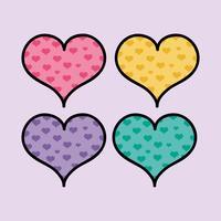ställa in färg hjärtan former att älska symbol vektor