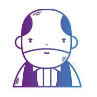 Linie Avatar Mann mit Frisur und T-Shirt vektor