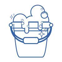 Wäschekübel mit Reinigungsmittelblasen zum Reinigen auslegen