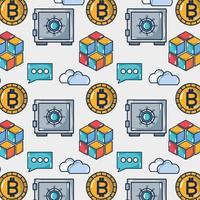 Bitcoin digitales Geld mit Geldschrank und Cloud-Daten Hintergrund